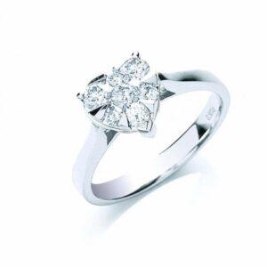 18ct white gold heart shape diamond ring