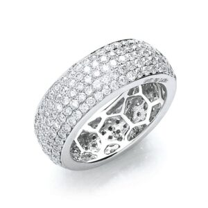 18ct white gold pavé set diamond ring