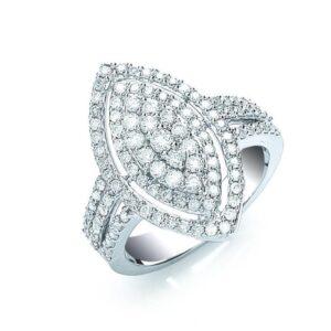18ct white gold fancy diamond ring.