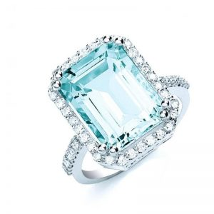 18ct white gold Diamond & Aquamarine ring