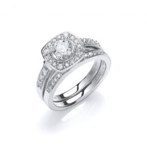 18ct white gold fancy diamond bridal set rings