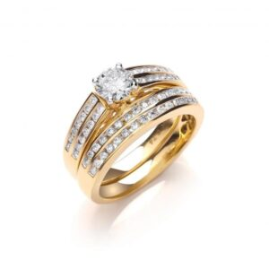 18ct gold fancy diamond bridal set rings