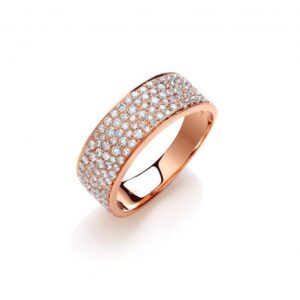 18ct rose gold pavé set diamond ring