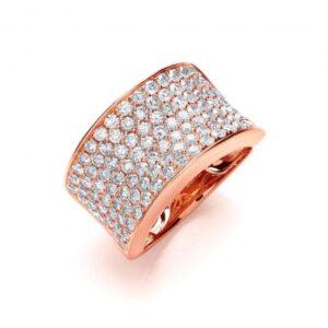 18ct rose gold pavé set diamond ring