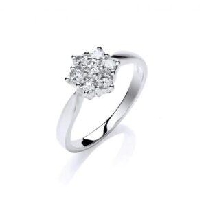 9ct white gold diamond cluster ring