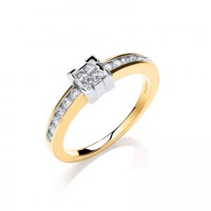 9ct gold princess cut diamond dress ring