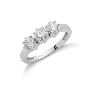18ct white gold diamond trilogy ring