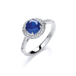 9ct white gold diamond & blue sapphire ring.