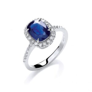 18ct white gold diamond & blue sapphire ring.