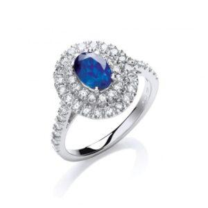 18ct white gold diamond & blue sapphire ring