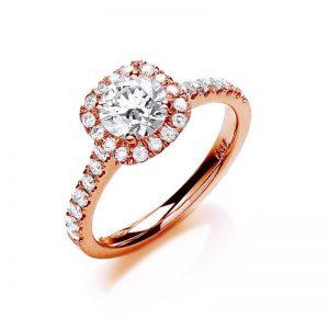 18ct rose gold diamond dress ring.