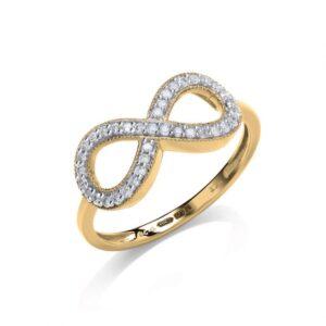9ct gold diamond infinity dress ring