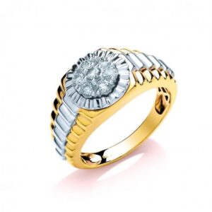 9ct Multi Colour Gold Diamond Ring
