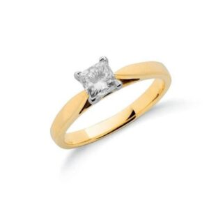 18ct gold princess cut diamond solitaire ring