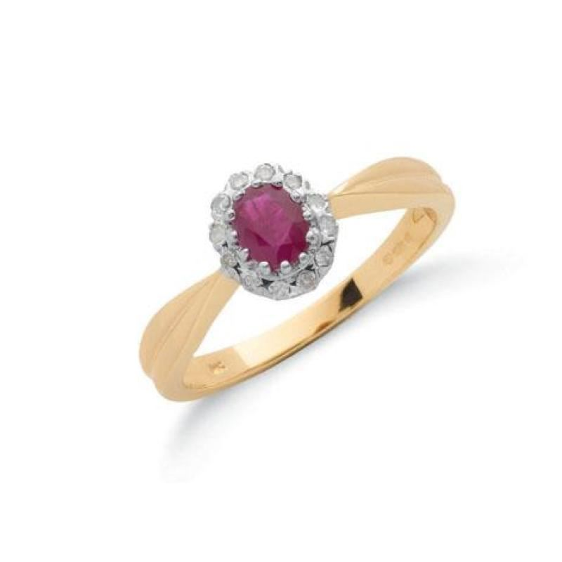 9ct gold diamond & ruby cluster ring.