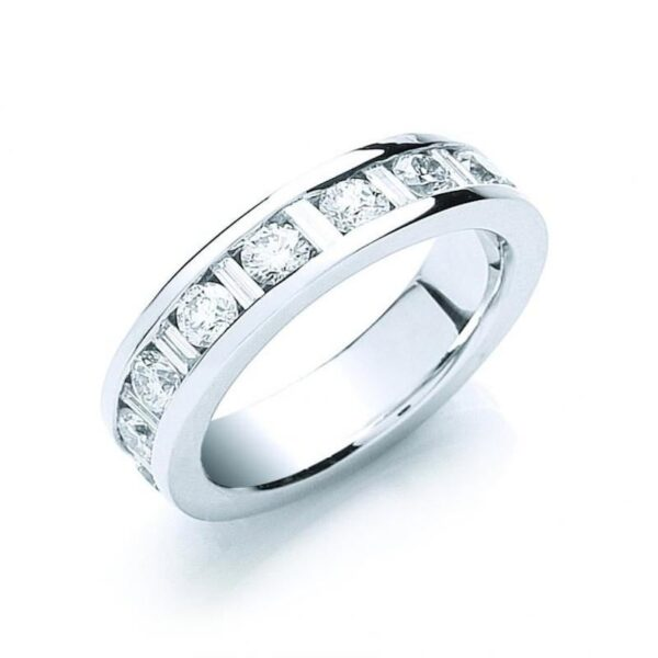 18ct white gold baguette & round diamond full eternity ring