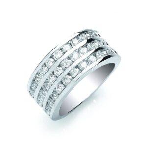 18ct white gold 3 row diamondring
