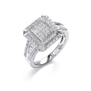 18ct white gold diamond dressring