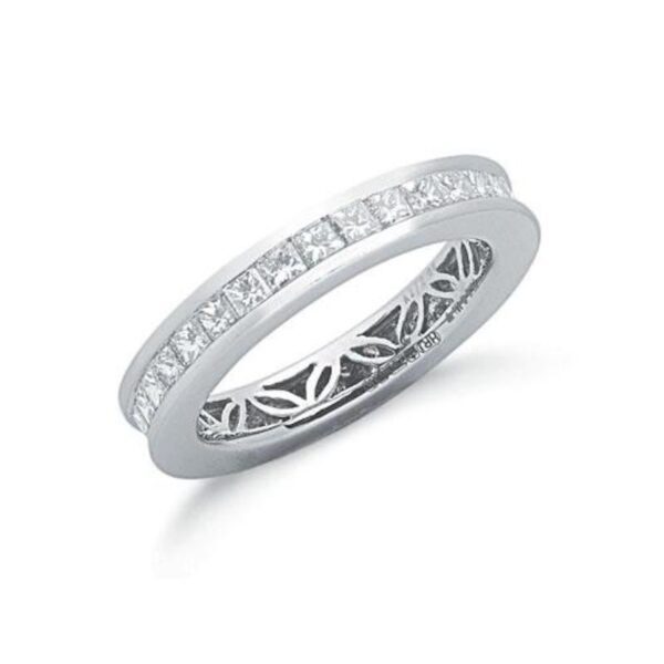 18ct white gold princess cut diamond full eternity ring