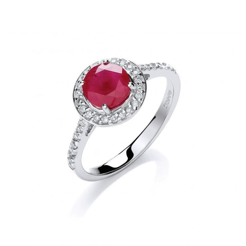 9ct white gold diamond & ruby dress ring.