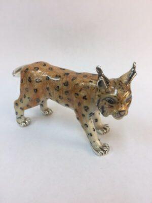 Sterling Silver Enamel Lynx By Saturno
