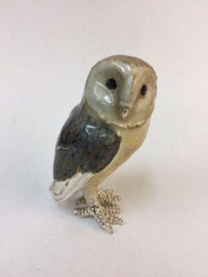 Sterling Silver Enamel Barn Owl By Sorini Argenti