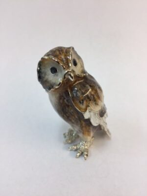Sterling Silver Enamel Tawny Owl By Sorini Argenti