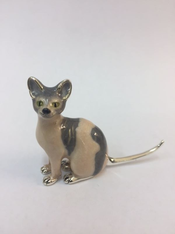 Sterling Silver Enamel Sphynx Cat By Saturno