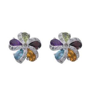 Diamond & Multi Colour Gem Earrings