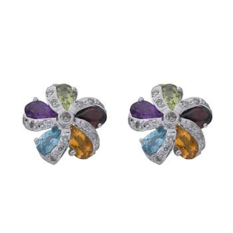 Diamond & Multi Colour Gem Earrings