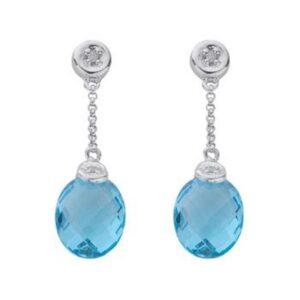 Diamond & Blue Topaz Earrings