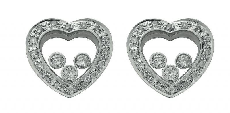 9ct White Gold Floating Diamond Heart Stud Earrings Giorgio Jewellersgiorgio Jewellers