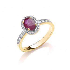 9ct gold diamond & ruby dress ring.