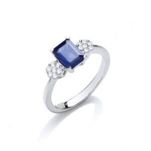 18ct white gold diamond & blue sapphire ring.