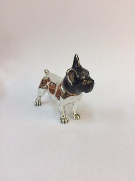 Saturno Silver Enamel French Bulldog FigurineBy Saturno Length approx 65mm - Height approx 50mm.