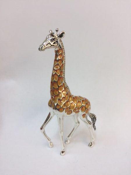 Saturno Silver Enamel Giraffe Figurine Length approx 60mm - Height approx 110mm.