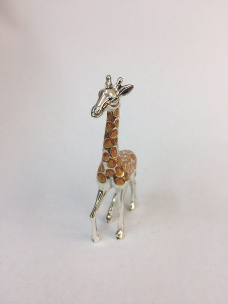 Sterling Silver Enamel Giraffe By Saturno Length approx 35mm - Height approx 70mm.