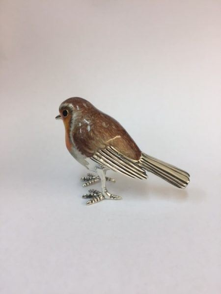 Saturno Silver Enamel Robin Figurine Length approx 60mm - Height approx 45mm.