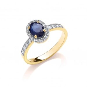 9ct gold Diamond & Blue Sapphire ring