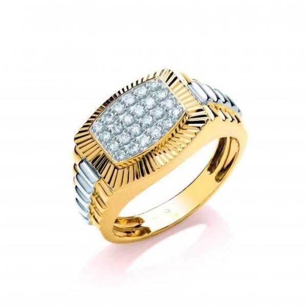 9ct Multi Colour Gold Diamond Ring.