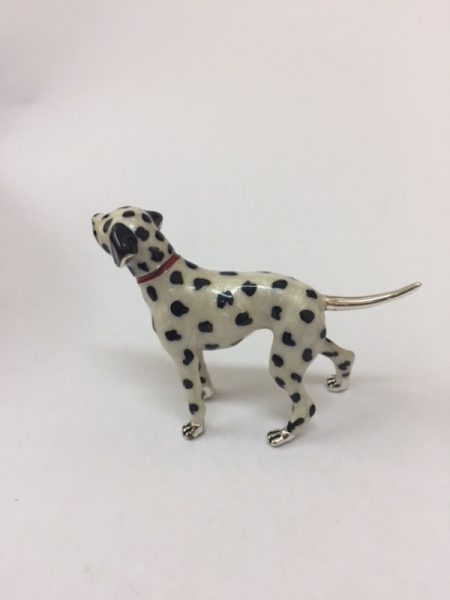 Sterling Silver Enamel Dalmatian By Saturno Length approx 60mm - Height approx 45mm. This beautifully detailed sterling silver Dalmatian figurine has been hand enamelled and then finished with a protective lacquer to prevent tarnishing. Saturno figurines are highly collectable and make unique presents.