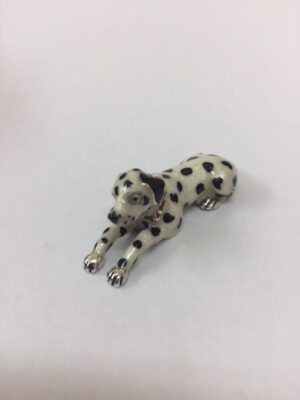 Sterling Silver Enamel Dalmatian By Saturno Length approx 45mm - Height approx 15mm. This beautifully detailed sterling silver Dalmatian figurine has been hand enamelled and then finished with a protective lacquer to prevent tarnishing. Saturnofigurines are highly collectable and make unique presents.