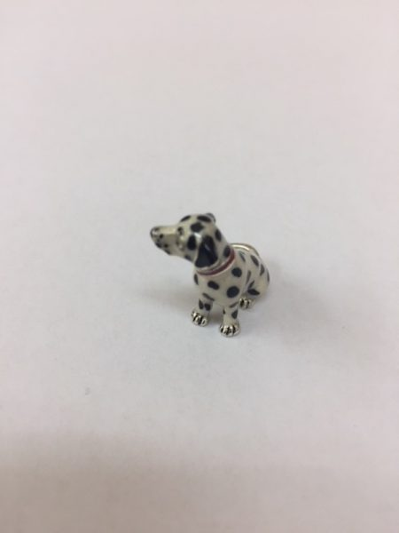 Sterling Silver Enamel Dalmatian By Saturno Length approx 20mm - Height approx 25mm. This beautifully detailed sterling silver Dalmatian figurine has been hand enamelled and then finished with a protective lacquer to prevent tarnishing. Saturno figurines are highly collectable and make unique presents.