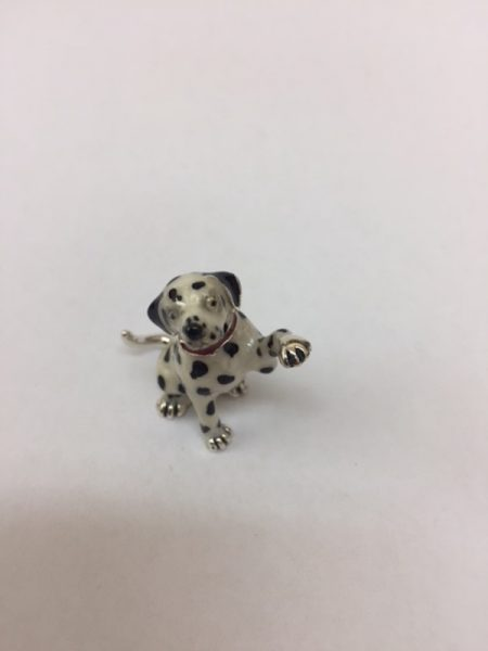 Sterling Silver Enamel Dalmatian By Saturno Length approx 30mm - Height approx 35mm. This beautifully detailed sterling silver Dalmatian figurine has been hand enamelled and then finished with a protective lacquer to prevent tarnishing. Saturnofigurines are highly collectable and make unique presents.