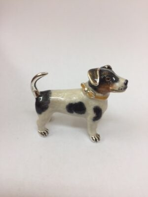 Sterling Silver Enamel Jack Russell By Saturno Length approx 55mm - Height approx 50mm. This beautifully detailed sterling silver Jack Russell figurine has been hand enamelled and then finished with a protective lacquer to prevent tarnishing. Saturno figurines are highly collectable and make unique presents.