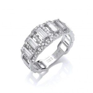 18ct white gold baguette diamond ring