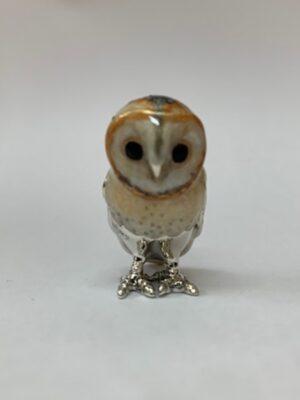 Sterling Silver Enamel Barn Owl By Saturno